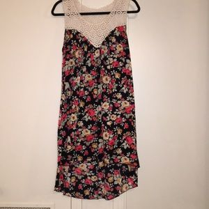 Black with red floral sleeveless dress